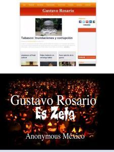 Effetto dell'attacco di Anonymous al sito www.gustavorosario.com