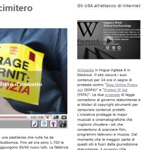 Beppe Grillo durante il SOPA Strike
