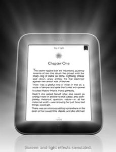 Nook - immagine di Barnes&Noble [Fonte: http://www.barnesandnoble.com/p/nook-simple-touch-with-glowlight-barnes-noble/1108046469?ean=9781400501717]